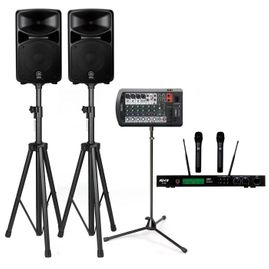 Yamaha STAGEPAS 400BT 400W PA System with Stands & ATNY AT-60 Dual Wireless Microphones (with Bluetooth Connectivity)