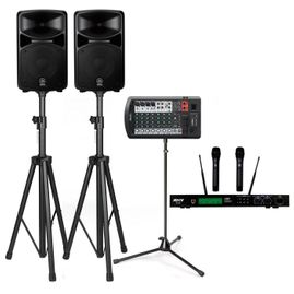 Yamaha STAGEPAS 600BT 680W PA System with Stands & ATNY AT-60 Dual Wireless Microphones