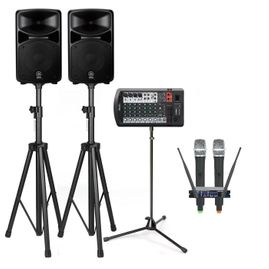 Yamaha STAGEPAS 600BT 680W Bluetooth PA System with Stands & Vocopro UHF-28 Dual Wireless Microphones