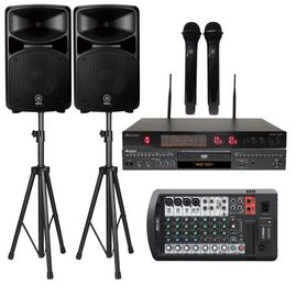 Yamaha Stagepas 600BT PA 680 watts System W/Bluetooth, Acesonic DGX-220 HDMI Karaoke Player & UHF-A6  Wireless MIC W/ Speaker Stand