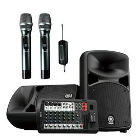 YAMAHA STAGEPAS 600BT with Acesonic UHF-920 Portable 900MHZ Dual Wireless Microphone System