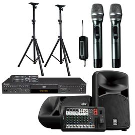 YAMAHA STAGEPAS 600BT with DGX-220 HDMI Multi-Format Karaoke Player with 4X CDG to MP3G Converter, Digital Recording, Acesonic Portable 900MHZ Dual Wireless Microphone System & Speaker Stand