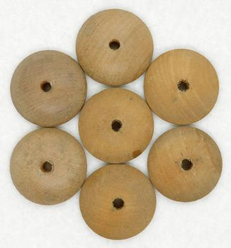 "7 Vintage 1 1/16"" Domed Wooden Button Forms"