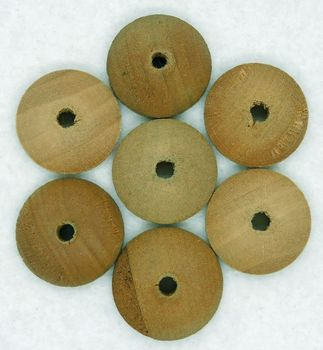 """7 Vintage 13/16"""" Domed Wooden Button Forms"""