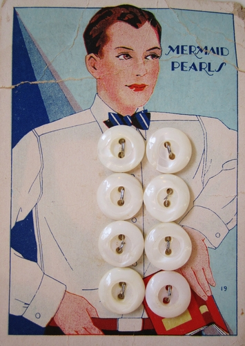 8 Vintage Mermaid Mother Of Pearl Shirt Buttons