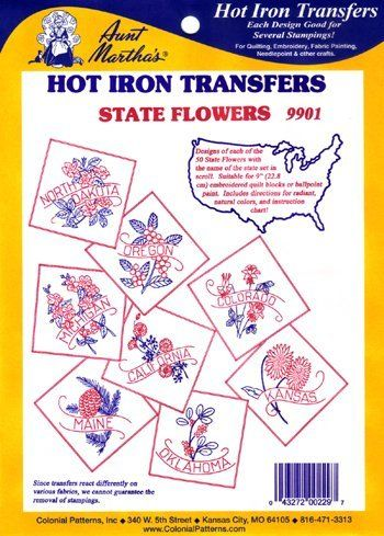 *BACK IN STOCK* State Flowers Quilt Hot Iron Transfer