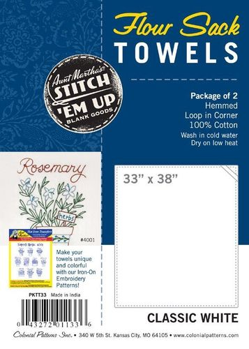 *BACK IN STOCK* Plain Flower Sack Towel 2 Pack To Embroider