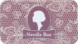 Lacy Mauve Slide Top Needle Tin