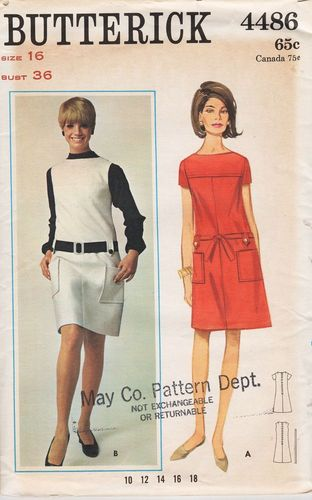 Butterick 4486, Short Sleeve Dress or Jumper, Bust 36""