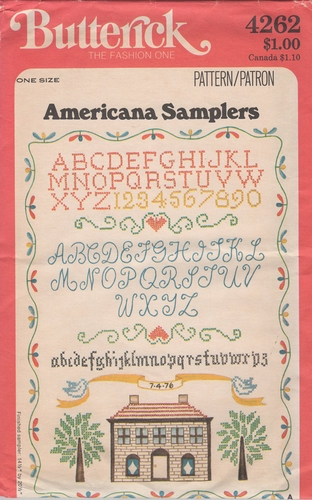 Vintage Butterick Americana Samplers Embroidery Tansfer Pattern