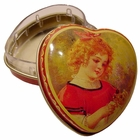 """Girl And Doll"" Mini Heart Tin Box"