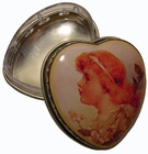 """Girl With Flowers"" Mini Heart Tin Box"
