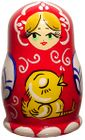 Handpainted Wooden Russian Thimble-Red With Baby Chick
