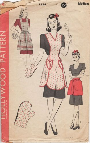 Hollywood 1224 Apron, Pattern for Pot Holder Is Missing, Size Medium