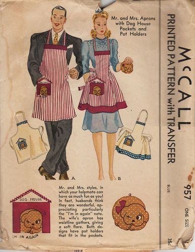 McCall 957 Mr. & Mrs. Aprons w/Dog House Pockets & Pot Holders