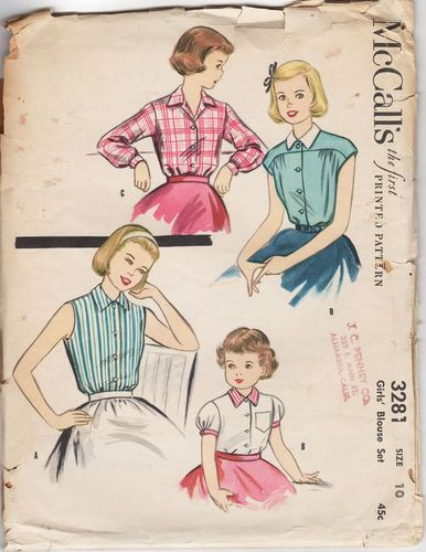 McCall's 3218 Girl's Blouses, Chest 28""