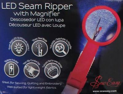 **NEW** Blue Tacony Sew Easy Seam Ripper w/Magnifier & LED Light