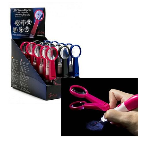 Pink Tacony Sew Easy Seam Ripper w/Magnifier & LED Light