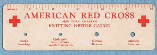 Vintage American Red Cross Cardstock Knitting Needle Gauge