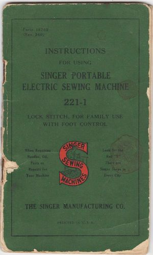 Vintage Instruction Manual for Singer Portable Electric Sewing Machine #221-1