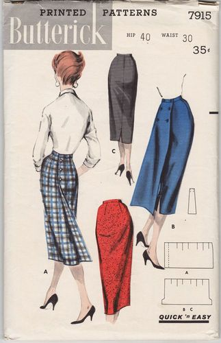 "Butterick 7915 Skirt, Waist 30"", Hip 40"", Missing Waistband Piece"