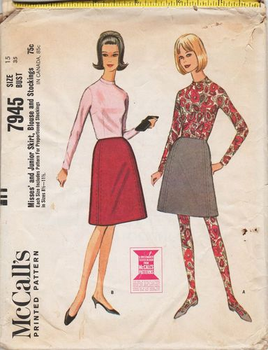McCall's 7945 Skirt, Top & Stockings, Bust 35""
