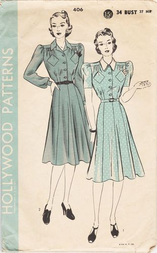 """Hollywood 406 Dress, Bust 34"""", Missing Collar Piece"""