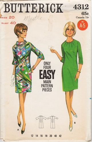 Butterick 4312 Dress, Bust 40""