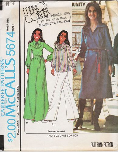 McCall's 5674 Marlo Thomas Dress or Top, Pants Not Included, Bust 43""