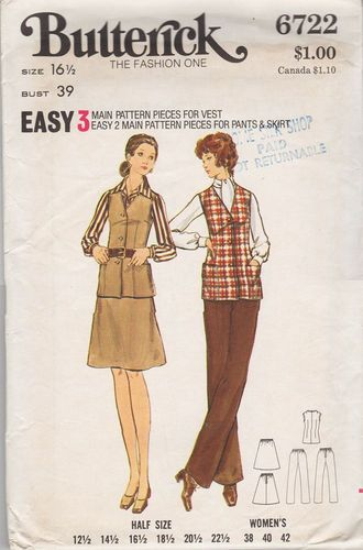 Butterick 6722 Vest, Skirt & Pants, Bust 39""