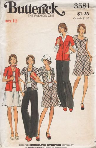 "Butterick 3581, Sweater, Top, Skirt & Pants, Bust 38"", For Moderate Stretch Knits Only"