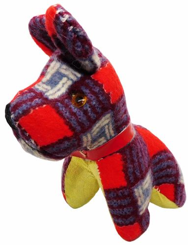Vintage Plaid Flannel Dog Pincushion