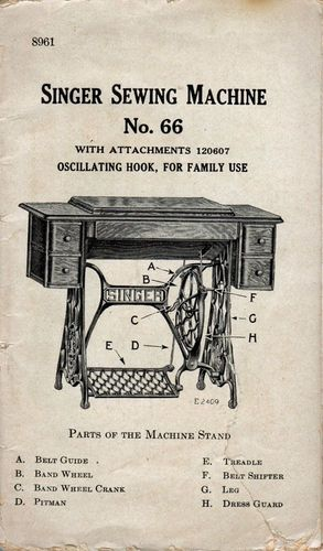 Vintage Singer Sewing machine No.66 Manual