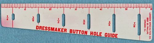 Vintage Dressmaker Button Hole Guide