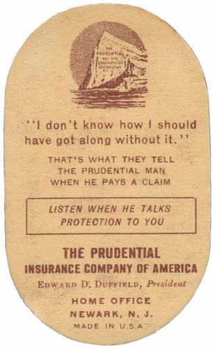 "Vintage ""The Prudential"" Cardboard Pincusion"