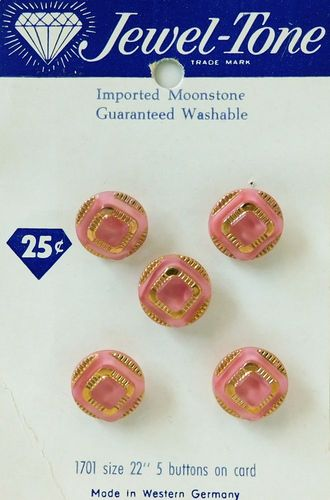 5 Vintage Pink & Gold Glass Buttons w/Moonglow Centers on Original Card