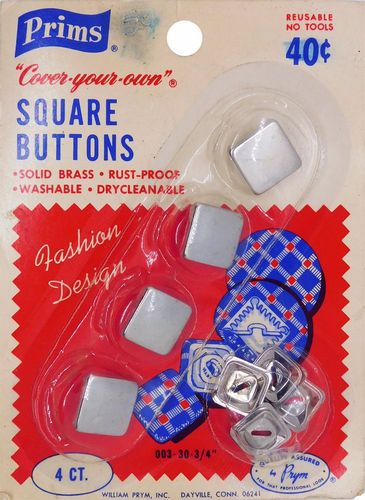 Vintage Prims Square Cover-Your-Own Buttons