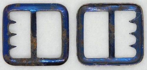2 Shabby-Chic Blued Steel Vest Buckles