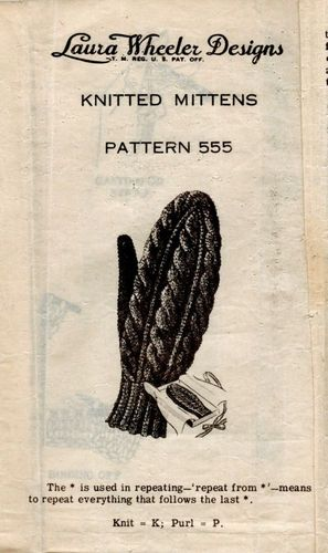 Vintage Laura Wheeler Designs #555 Knitted Mittens