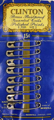 Vintage Clinton Safety Pins w/Guarded Coils Size 2