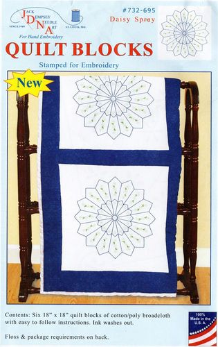 "**NEW** Jack Dempsey ""Daisy Spray"" Quilt Blocks Embroidery Kit"