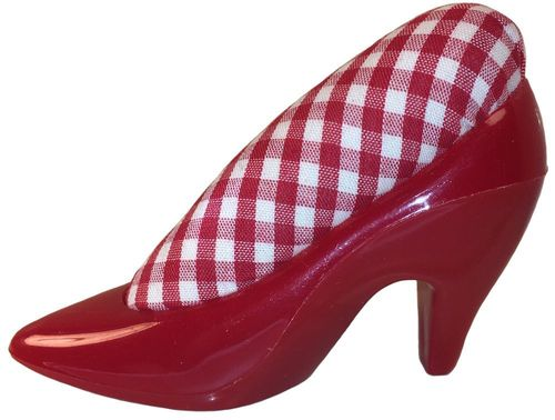 Red Shoe w/Red & White Gingham Pincushion