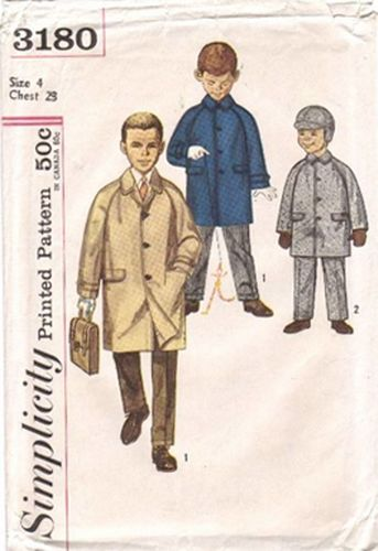 Simplicity 3180 Hat, Coat & Pants, Size 4, Chest 23""