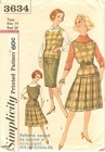 Simplicity 3634 Top & Skirts, Bust 34""