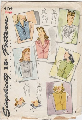 "Simplicity 4154 Dickie Set, Bust 40""- 42"",Missing Style ""G"""