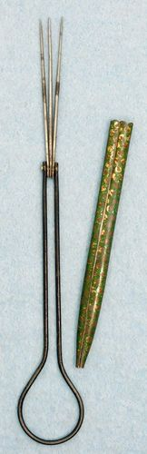 Vintage 3 Prong Crochet Hook for Lace Making w/Cover & Loop for Chatelaine