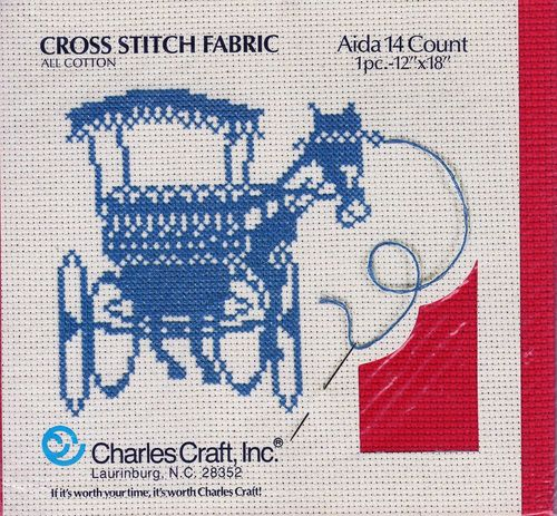 Vintage Charles Craft Red Aida Cross Stitch Fabric