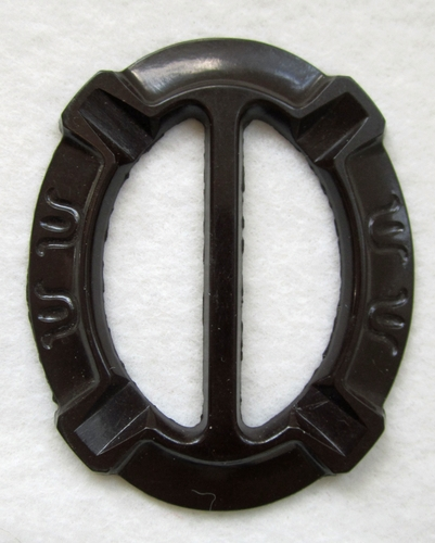 Vintage Dark Brown Plastic Belt Buckle