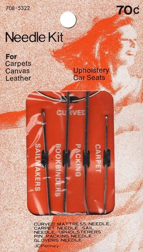 Vintage JC Penny Needle Kit for Gloves, Bookbinding, Upholstery, Car Seats, Carpets, Canvas & Leather