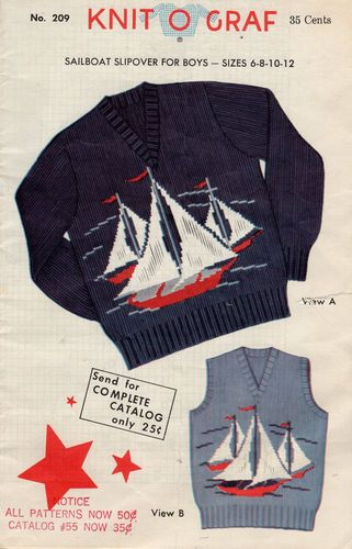Vintage Knit O Graf Boy's Sailboat Slipover #209